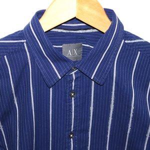 Armani Exchange Blue Long-Sleeved Shirt